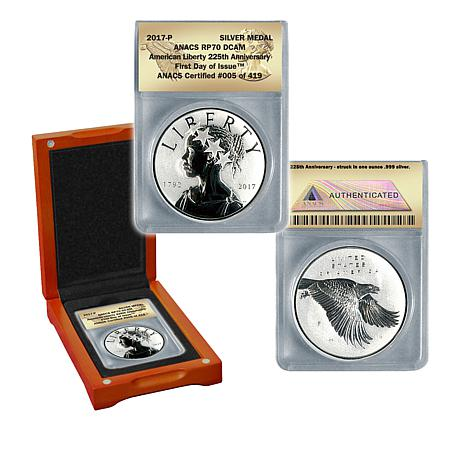 2017-P RP70 DCAM ANACS FDOI LE 419 American Liberty Silver Medal