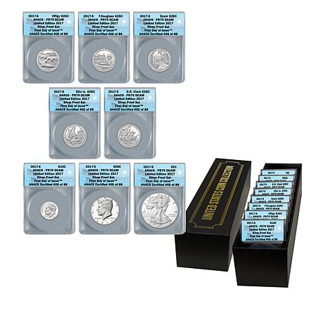 2017 PR70 ANACS FDOI LE 88 Silver Proof 8-Coin Set