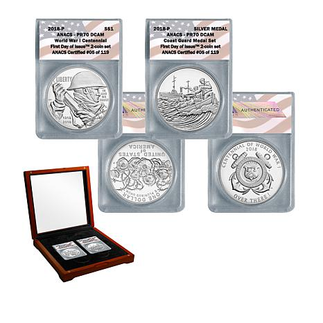 2018 PR70 FDOI WWI Centennial Silver Dollar and Coast Guard Medal Set