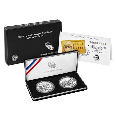2018 World War I Centennial Silver Dollar and Army Silver Medal Set