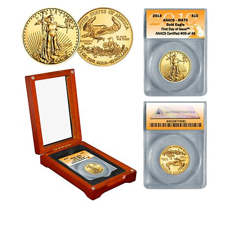 2019 MS70 ANACS First Day of Issue Limited Edition $10 Gold Eagle Coin