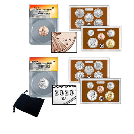 2019-W Penny, 2020-W Nickel and 2019 and 2020 U.S. Mint Proof Sets