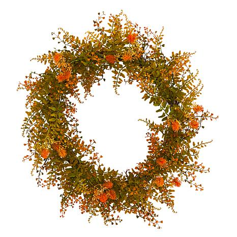 21 in. Autumn Fern Artificial Wreath