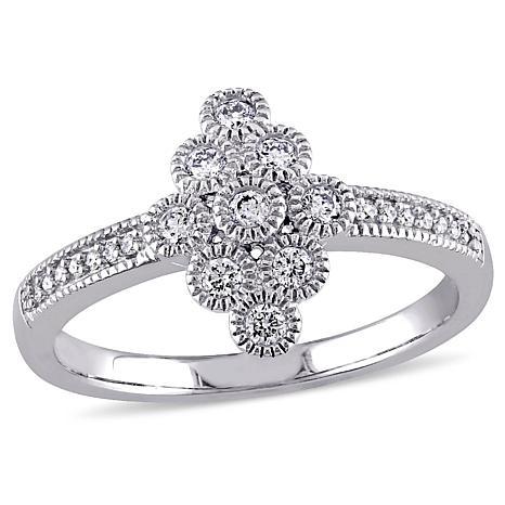 .24ctw Diamond 14K White Gold Elongated Cluster Ring
