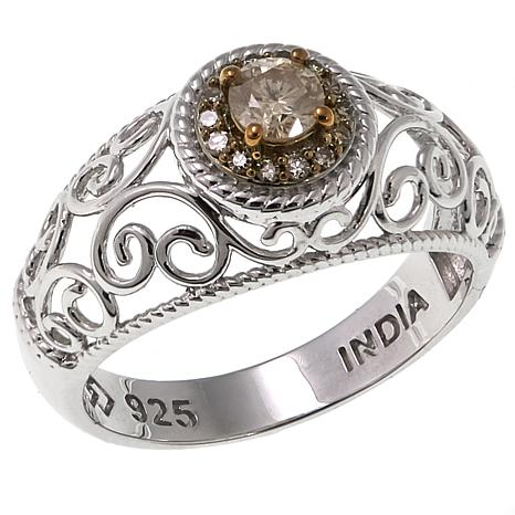.25ctw Colored Diamond Scroll Design Sterling Silver Ring
