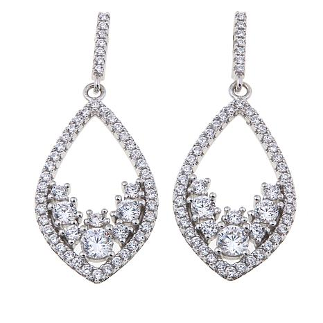 2.93ctw Absolute™ Round Stone Kite-Shaped Drop Earrings
