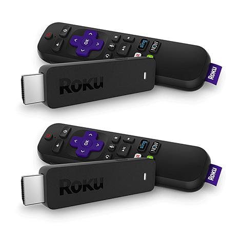2pk Roku Stick Media Streamers w/Voice Search, TV Controls & Voucher