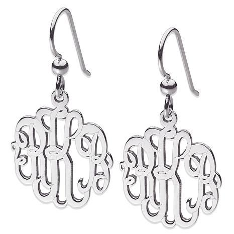 3-Initial Script Monogram Sterling Silver Drop Earrings