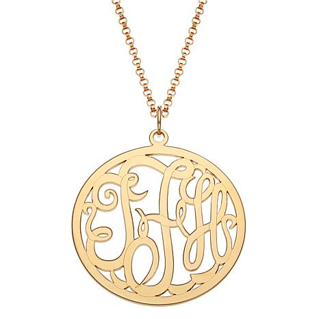 """3-Initial Script Monogram Sterling Silver Pendant with 18"""" Rolo Chain"""