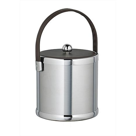3-Quart Ice Bucket with Faux Leather Handle