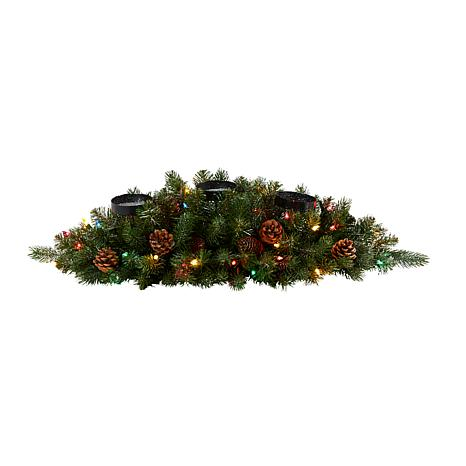 30 in. Flocked and Glittered Artificial Christmas Triple Candelabru...