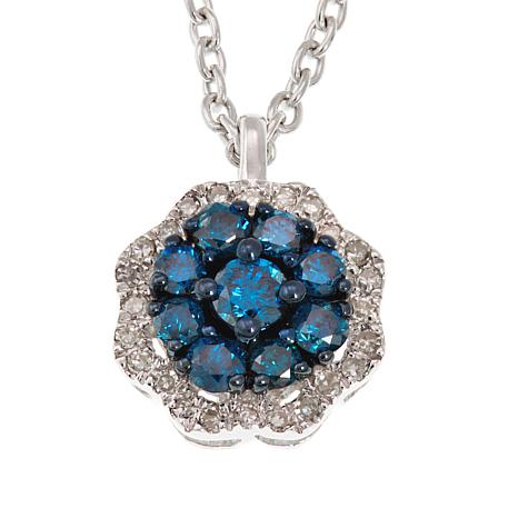 """.31ctw Colored and White Diamond Cluster Pendant with 18"""" Chain"""