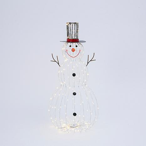 33-inch Electric Metal Snowman Outdoor Décor with Remote Feature