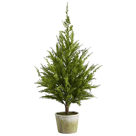 3.5 ft. Cedar Pine Natural Look Artificial Tree in Decorative Planter