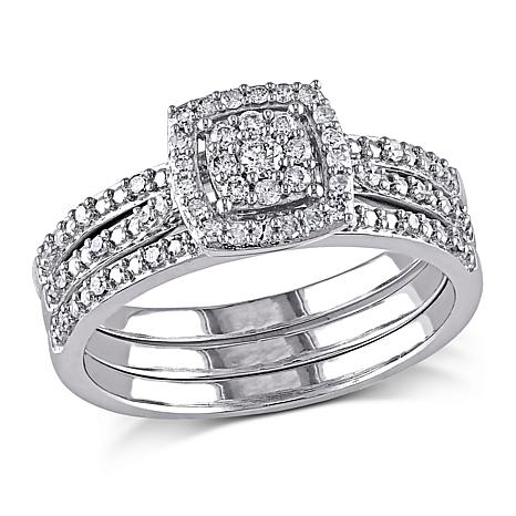 035ctw Diamond Engagement Ring and Wedding Band 10K White Gold 3