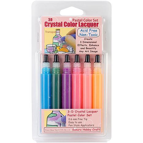 3D Crystal Lacquer Color Pens 6/Pkg - Pastel .5oz