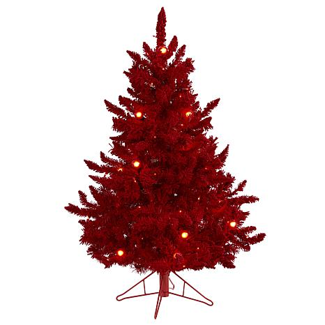 4' Red Flocked Fraser Fir Artificial Christmas Tree with 100 Red Li...