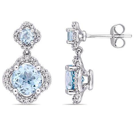 4.01ctw Blue Topaz and Diamond 14K Double Drop Earrings