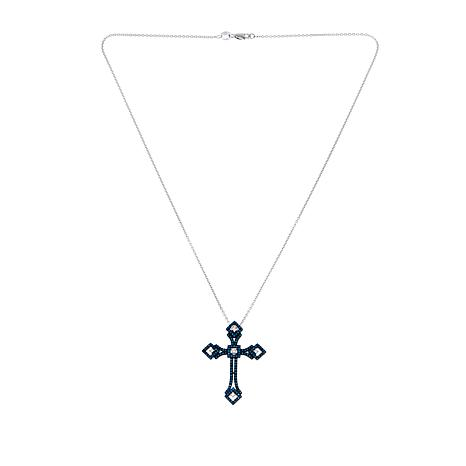 .48ctw Blue and White Diamond Cross Pin/Pendant with Chain