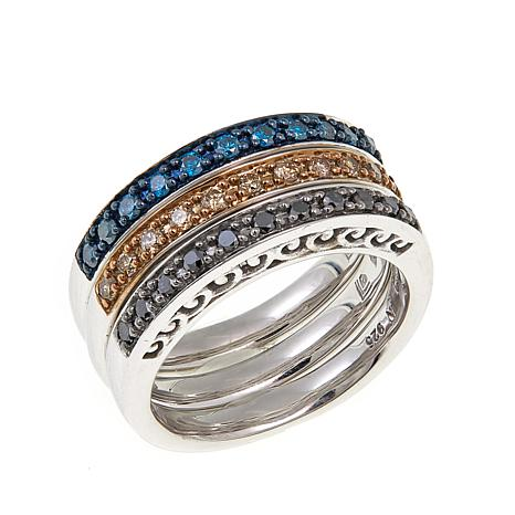 .49ctw Black, Blue & Champagne Diamond Band Rings - Set of 3
