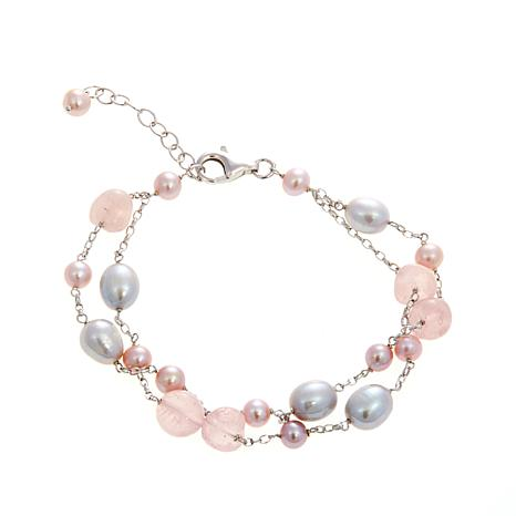 5 8mm Cultured Pearl And Rose Quartz Bracelet