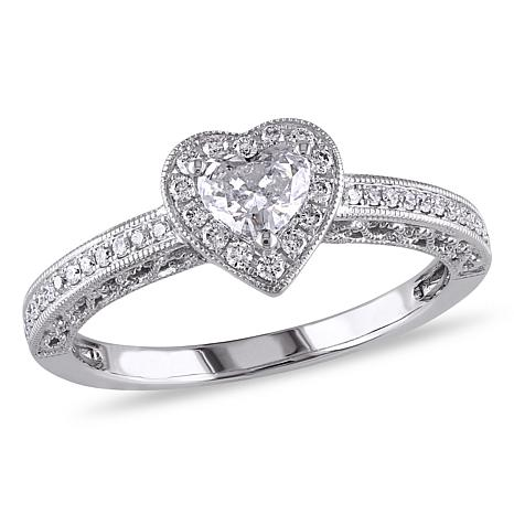 .50ctw Diamond Heart Halo 14K White Gold Engagement Ring