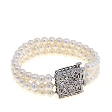 6 7mm Cultured Freshwater Pearl And Cz 3 Strand Bracelet