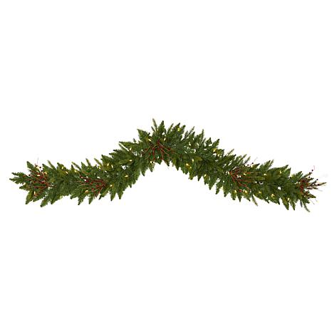 6' Christmas Pine Artificial Garland with 50 Warm White LED Lights ...