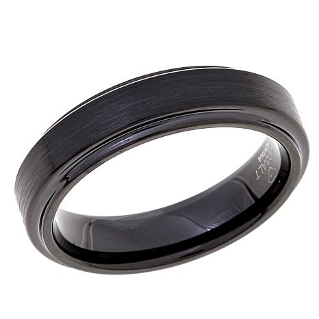 6mm Beveled Polished and Brushed Cobalt Black IP Ring
