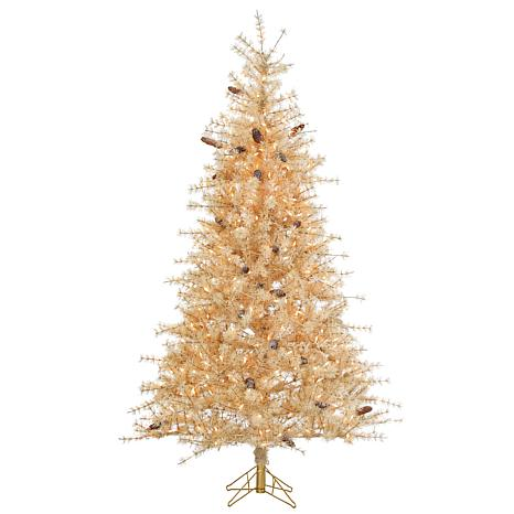 7' Hard Needle Lighted Slim Tree with Pine Treecones - Frosted Butt...