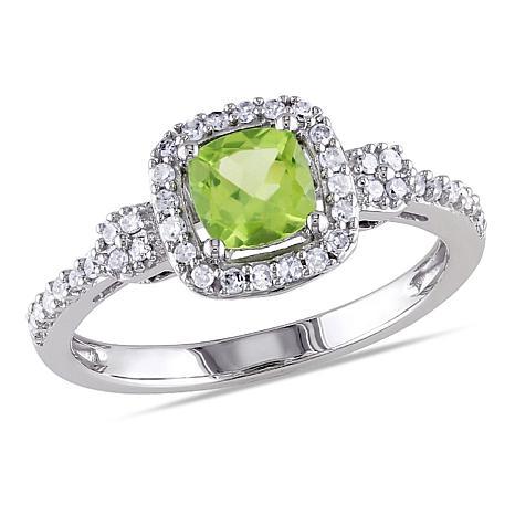 .81ctw Peridot and Diamond 10K  Cushion Halo Ring