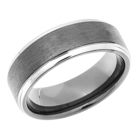 8mm Brushed 2 Tone Tantalum Band Ring