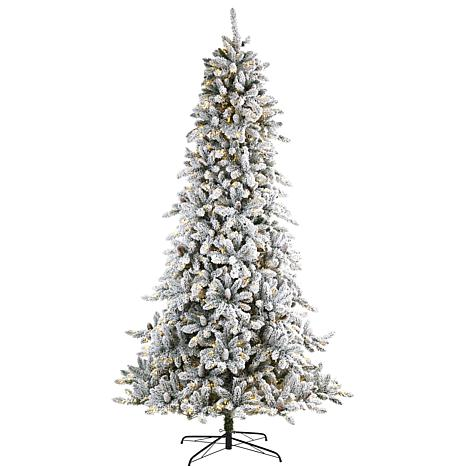 9 ft. Flocked Livingston Fir Artificial Christmas Tree with Pine Co...