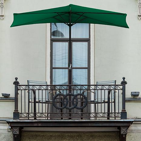 9' Half-Round Patio Umbrella with Easy Crank - Hunter Green