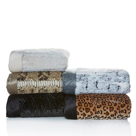 A by Adrienne Landau Faux Fur Blanket with Mink Trim