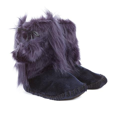 A by Adrienne Landau Plush Booties with Faux Fur Trim