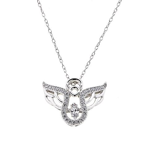 """Absolute™ 0.31ctw Dancing CZ Angel Pendant with 18"""" Chain"""