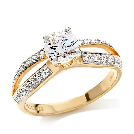 Absolute™ 1.02ctw Round Solitaire Pavé Split Shank Ring
