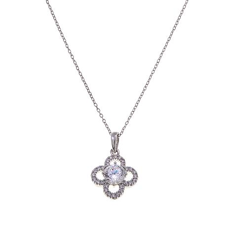 Absolute™ 1.04ctw CZ  100-Facet Round Flower Pendant with Chain