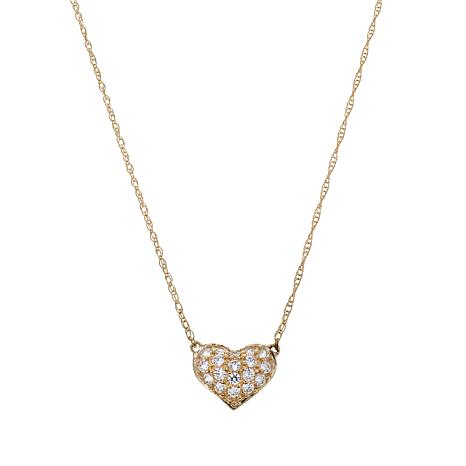 Absolute™ 10K Cubic Zirconia Round Heart Drop Necklace