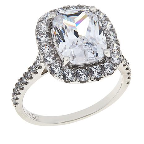 Absolute™ 10K White Gold Cubic Zirconia Cushion-Cut Halo Ring