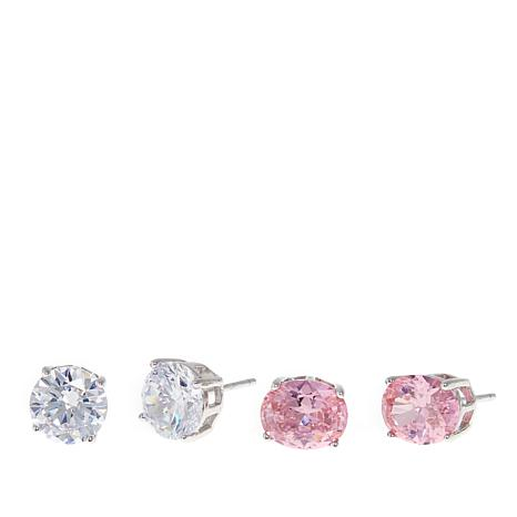 Absolute™ 12ctw CZ  Pink and Clear Oval and Round Stud Earrings Set
