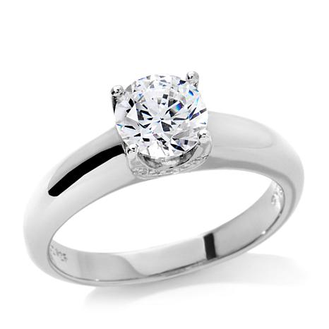 Absolute™ 1.3ctw CZ Round Solitaire Pavé Prong-Set Ring