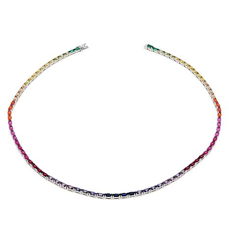 "Absolute™ 18"" Simulated Colors of Sapphire Rainbow Line Necklace"