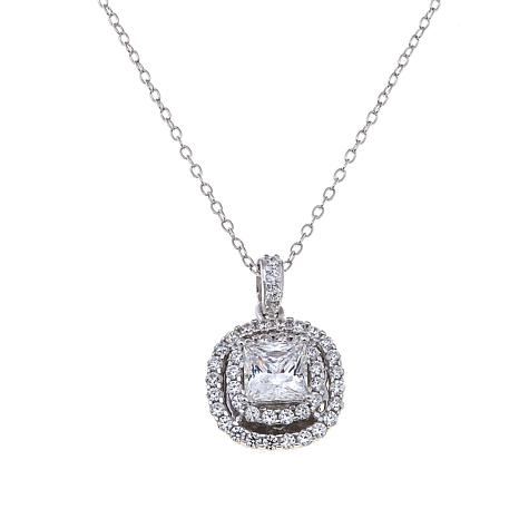 Absolute™ 1.9ctw Princess-Cut Double Halo Pendant