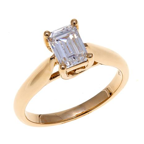 Absolute™ 1ctw Cubic Zirconia 14K Emerald-Cut Ring