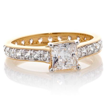 Absolute™ 1ctw Cubic Zirconia Gold-Plated Princess-Cut Eternity Ring