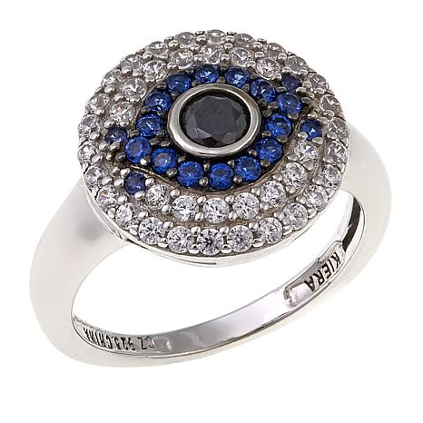 Absolute™ 2.02ctw CZ and Created Sapphire Evil Eye Design Ring