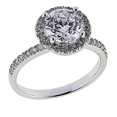 Absolute™ 2.08ctw CZ Aurora Star 101 Facets Platinum-Plated Halo Ring