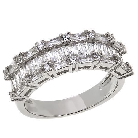 Absolute™ 2.25ctw CZ Emerald-Cut and Round 3-Row Band Ring
